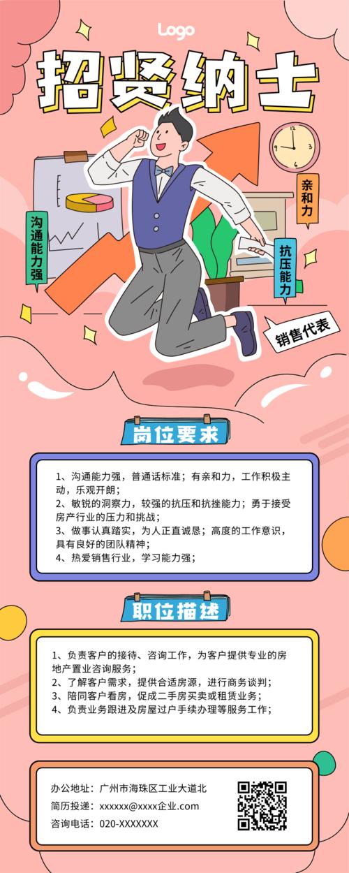 卡通职业人物招聘宣传活动营销长图
